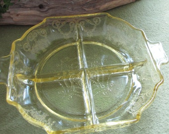 Lorain Yellow Depression Divided Relish Dish Vintage Dinnerware and Replacements Indiana Glass Company 1929 to 1932