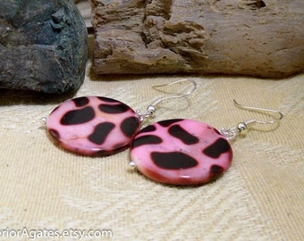 Pink & Black Spots Animal Print Mother Of Pearl Shell Silver Dangle Earrings