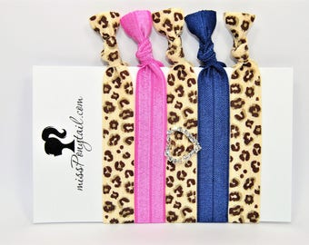Leopard Hair Ties, Heart Charm, Embellishment, Elastic Hair Ties, Handmade, Elastic Ribbon, Ponytail Holder, Knotted Hair Ties, Girl Gift