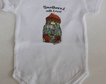 Smothered with love Pudgies, large scarf bodysuit, newborn, baby, romper, funny gift, cute cartoon, veggie, love