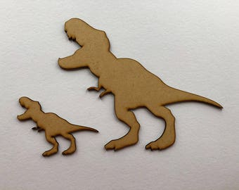 T Rex Dinosaur 100mm and 240mm high, 3mm MDF wooden craft shape