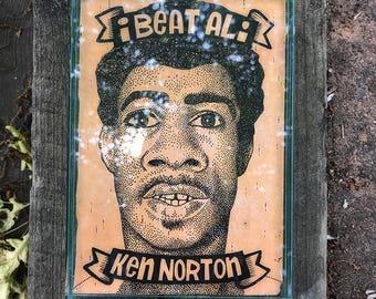 I Beat Ali: Ken Norton. Ink on birchbark, 5x7.
