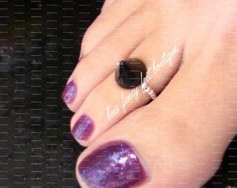 Spike Toe Ring, Spike Ring, Black Spike Bead, Acrylic Spike Bead, Silver Beads, Toe Ring, Ring, Stretch Bead Toe Ring