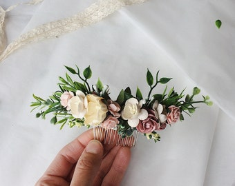 Pale pink and cream and pale yellow and grenery headpiece, floral hair piece, pale pink hair clip, bridal hair piece, floral hair comb