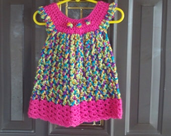 Dress,Baby,3-6 Months,Crocheted,Multi Color,Hot Pink,Gift,Photos,Girls,Infants,Clothing,Wardrobe