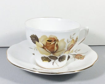 Royal Dover yellow rose pattern cup and saucer