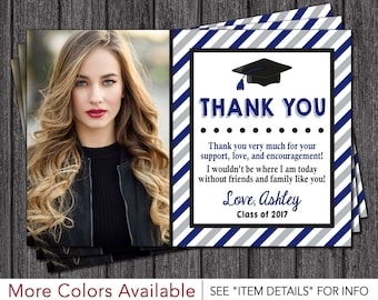 Graduation Thank You Card | Graduation Party Thank You Card | Royal Blue, Matte Silver, and Black