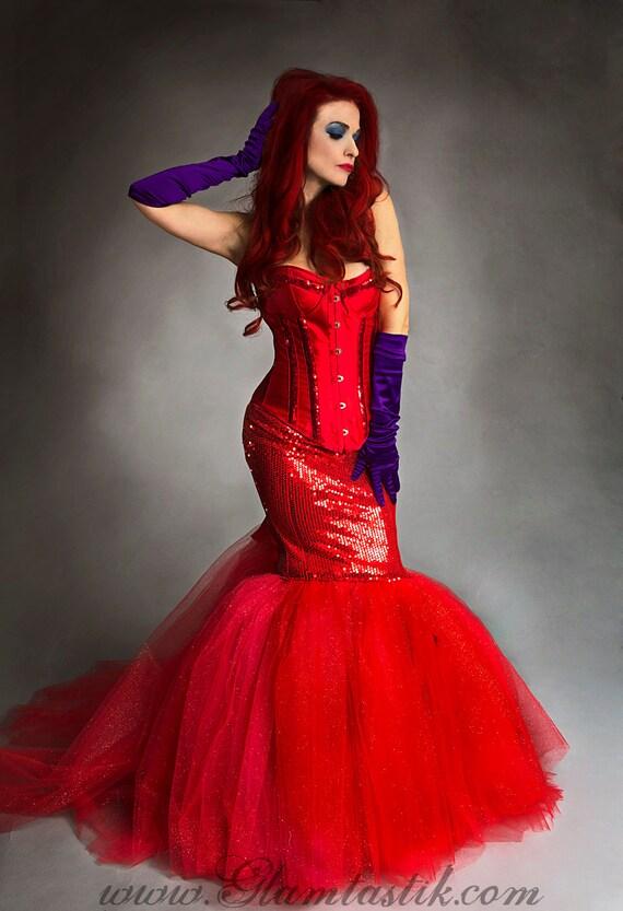 Custom SizeRed sequin mermaid style sparkle tulle prom dress
