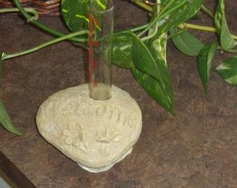 Rock rain gauge-garden statuary