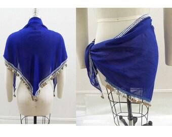 Gypsy Belly Dance Coin Scarf Shawl Hip Wrap Skirt Hippie Boho Blue Silver