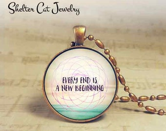 "Every Ending Necklace - 1-1/4"" Circle Pendant or Key Ring - Photo Art - Sacred Geometry, Spiritual Metaphysical Cosmic, Yoga Gift"