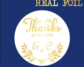 Personalized wedding stickers, wedding favor stickers, thank you stickers, foil stickers, thank you envelope seal, Bridal shower stickers