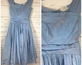 50's Emma Domb blue gown - vintage blue prom dress - vintage Emma Domb dress - 50's dress with petticoat - 50's prom dress