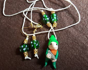 """Gnome """"Donovan"""" Necklace and Earrings"""