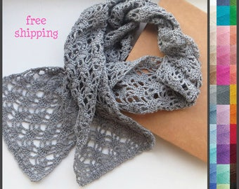 Scarf women, Gray lace scarf, Crochet lace scarf, Cotton scarf, Scarfs for women, Lace knit scarf, Crochet cotton scarf, Gray knit scarf.