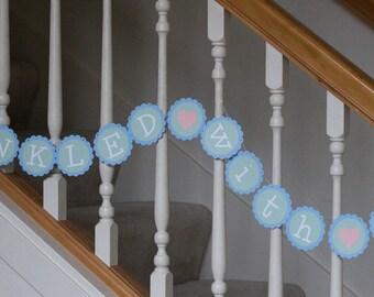 Sprinkled with Love banner, baby shower, baby sprinkle banner