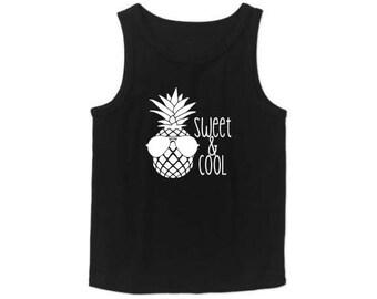 Pineapple shirt, pineapple tank top, boys tank top, muscle tank, pineapple birthday shirt, summer shirt, beach shirt, pineapple kids shirt