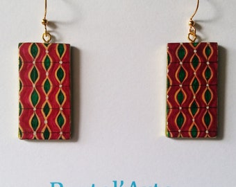 hand-painted earrings purple and green vintage fabric