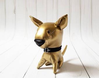 gold toy bull terrier stuffed dog cute puppy stuffed animal plush dog soft toy dog birthday gift man custom stuffed dog miniature dog