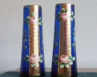 Pair of Bohemian Glass Vases, Blue painted Vases. Enamelled Blue Glass.
