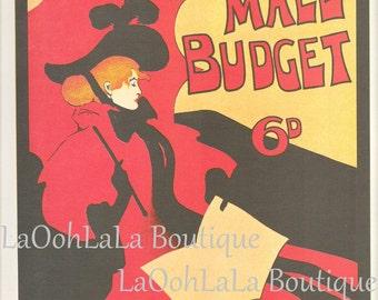 1896 Illustrated Pall Mall Budget Magazine Maurice Greiffenhagen Poster Art Belle Époque Victorian Lady and Eugène Grasset Wall Decor Print