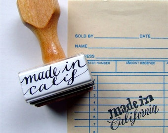 Made in California Rubber Stamp, Modern Calligraphy Stamp, Made in America USA, Choose Your State Stamp, Hand Lettered Stamp