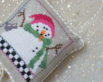 Holiday Snowman and his Kitty Friend-  Cross Stitch Christmas Ornament
