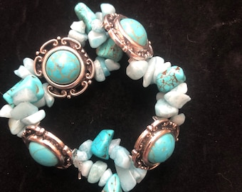 Turquise & Quartz Beaded Bracelet