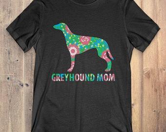 Flower Greyhound T-Shirt Funny Gift: Greyhound Mom