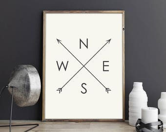 NESW Print | Directions Print | Compass Printable | NESW Arrows Art | Tribal Arrow Art