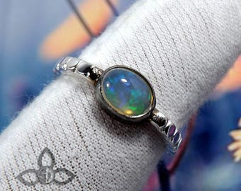 Ethiopian Opal Ring, Ethiopian Opal Silver RIng, Solid Silver Ring, 925 Silver Ring, Birthday Gift Ring, Partywear Ring, Black Rhodium Ring