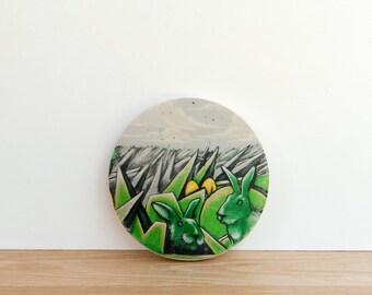 Street Art Graffiti Photo Transfer Circle Art Block MINI - 'Graffiti Rabbit' by Patrick Lajoie Fine Art Photography