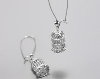Bird Cage Earrings - Silver Earrings - Long Earrings - Statement Earrings - Casual Earrings - Everyday Jewelry - Minimal Earrings - Feminine