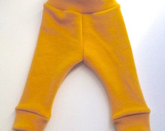 3-9 months - Diaper Cover Wool Longies - Hand Dyed Golden Wool Interlock - Small