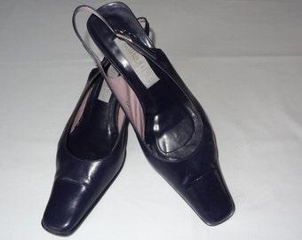 Vintage shoes,Leather shoes,Thin leather shoes,Navy color shoes,Womans shoes,Pumps,Size 40,Heel 7,5 cm