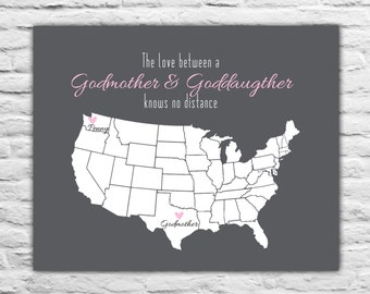 Godmother Gift from Goddaughter - Christmas Gift Ideas for Godmother, Love Knows No Distance -  Personalized State Map Mothers Day Gift