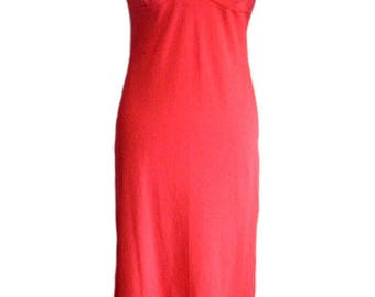 Original 1970s Vintage Red Slinky Stretch Party Dress UK Size 10