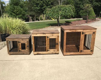 Single Door Dog Kennel, custom, dog furniture, dog crate, handcrafted, pine, stain finish