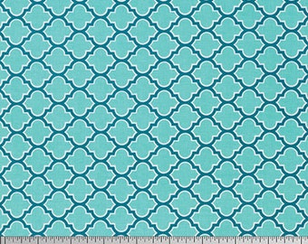 Joel Dewberry Fabric, True Colors Collection, Lodge Lattice in Aqua, cotton quilting fabric -  HALF YARD - SALE