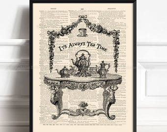 Tea Time With Alice, Alice Poster Gift, Alice Tea Time Party, Alice In Wonderland, Alice Quote Decor, Nursery Print Alice, Literary 101