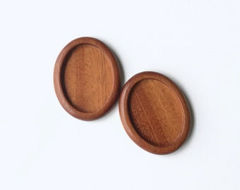 Wooden blanks settings fine finished NO laser - Hardwood - 30 x 40 mm cavity - (A25c) - Set of 2