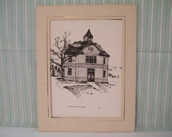 Original Ink Drawing by Dakota artist Beverly Pechan, Vintage  Keystone School Museum in S Dakota, Art, wall decor, architecture, history