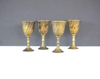 Brass cordials, set of four, vintage, goblets