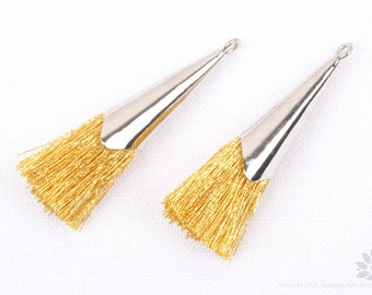 T016-GS// Rhodium Plated Cap 30mm Metallic Gold Thread Tassel, 4 pcs