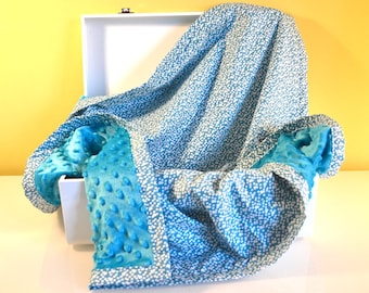 Fleece baby blanket and cotton turquoise and white - pattern half moons