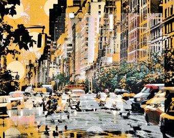 New York City abstrakt,  streetlife, Verkehr, Avenue, manhattan, yellow, Overpaint,  stadt, new york, cool, fotografie, photoart, 11