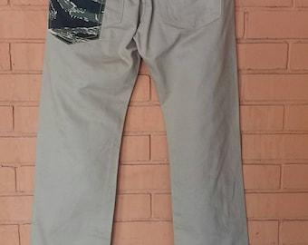 Rare Rocket saddles n co slack pants with tiger stripe  mustache pocketdesign/waist 32 /