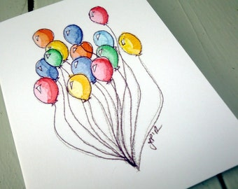 Note Card Set - Colorful Balloons Notecards, Watercolor Art Cards, Set of 8