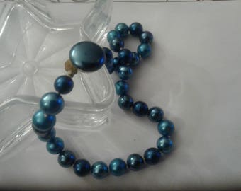 MidCentury Choker of Large Glass Pearls in Mixed Blue Shades, Marked Japan, Repaired