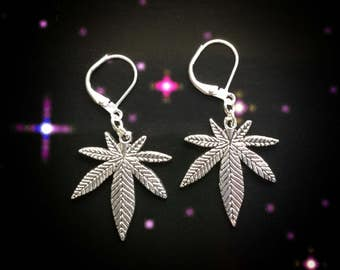 Cannabis Pot Leaf earrings, weed, stoner girl, for regular or stretched ears